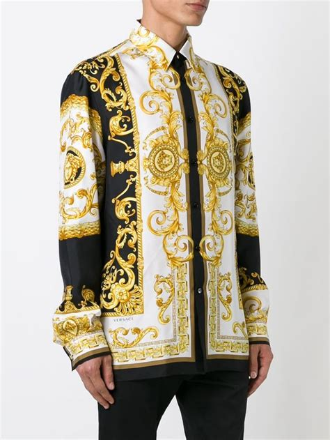 versace baroque print shirt in gold for multicolour