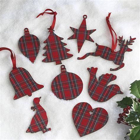 tartan christmas decorations by artcuts