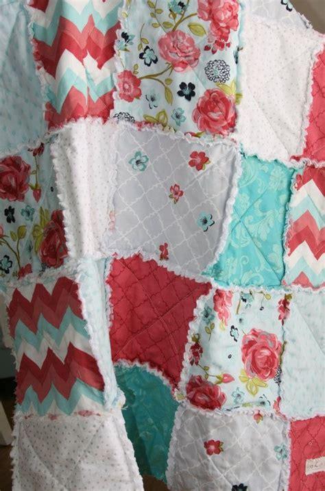 crib rag quilt baby crib bedding coral pink teal gray