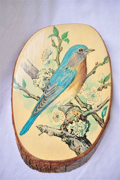 Decoupage On Wood - vintage wood slice decoupage bird picture