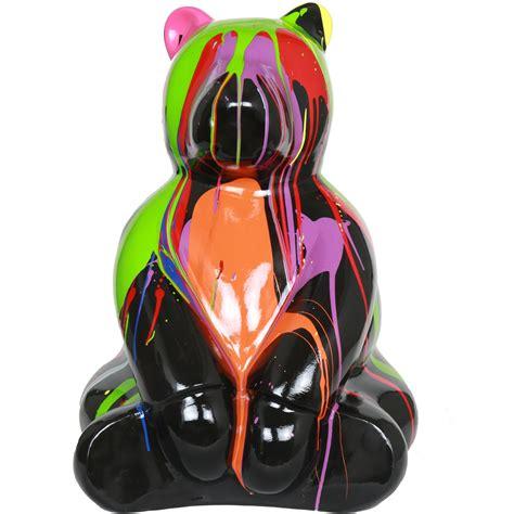 Vache En Resine 2617 statue en r 233 sine ours assis multicolore fond noir jules