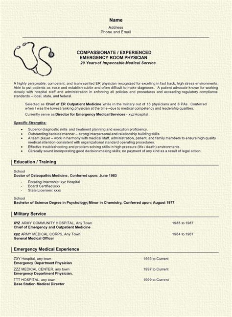 Curriculum Vitae Samples For Medical Doctors