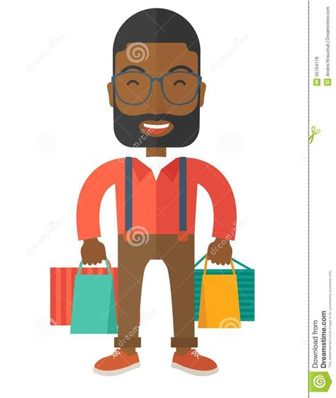 escalade commercial white guy carrying bags happy man with shopping bags vector illustration cartoon