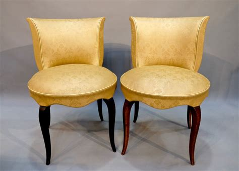 Small Fabric Chairs A Pair Of 20c Small Gold Fabric Chairs Stock Blanchard