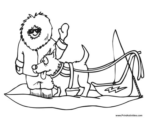 coloring pages of dog sledding dog sled 1 transportation printable coloring pages