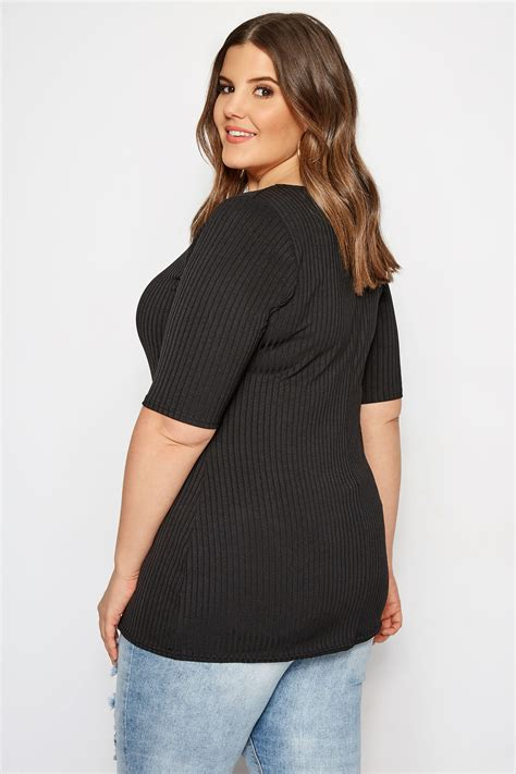 limited out 3 days in row plus size limited collection black square neck ribbed top