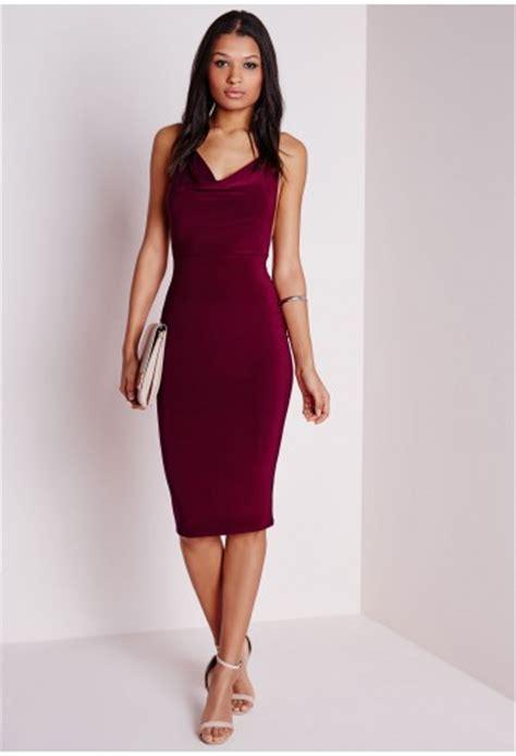 slinky cowl front midi dress burgundy dresses midi