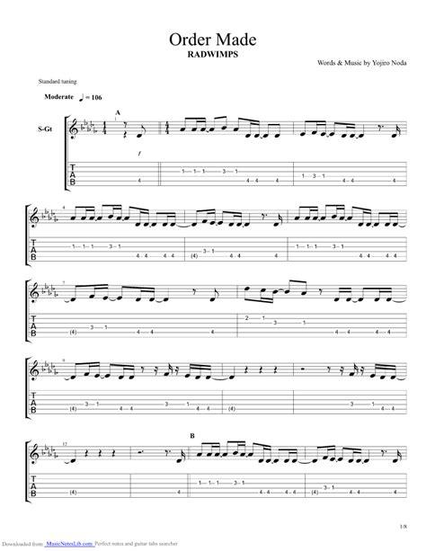 Tab Radwimps | order made guitar pro tab by radwimps musicnoteslib com
