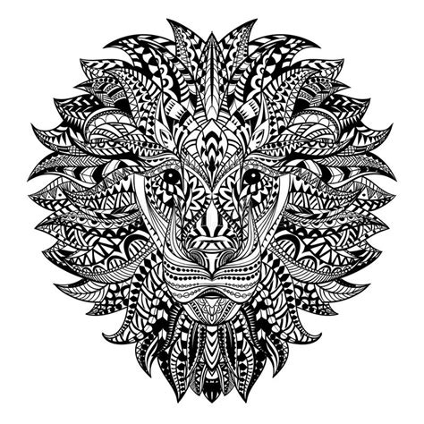detailed lion in aztec style patterned head on background