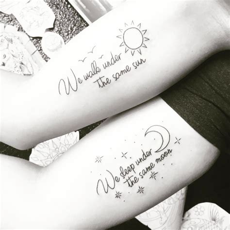 distance tattoos distance friendship sun moon matching bestfriend