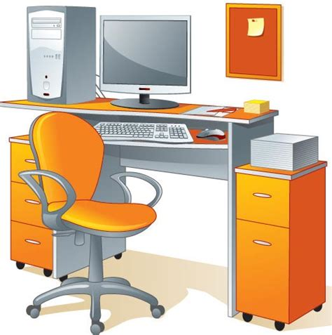 19 Vector Desk And Chairs Images Free Vector Clip Art Office Desk Clipart