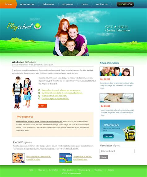 free college website templates in php attractive play school web templates