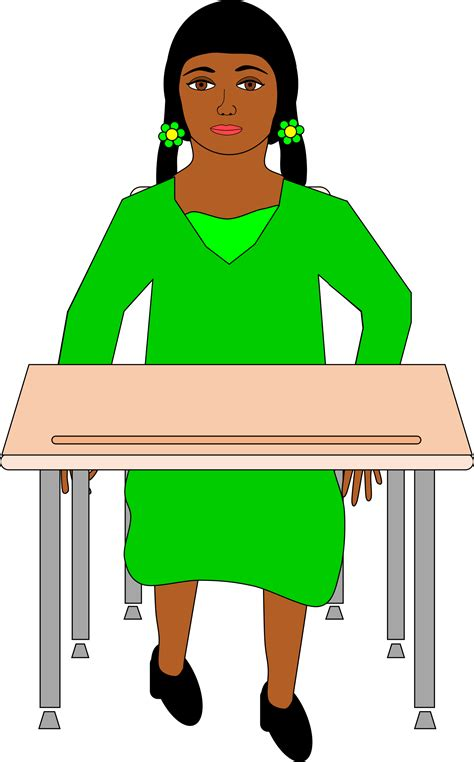 student sitting at desk clipart in pigtails sitting at student desk
