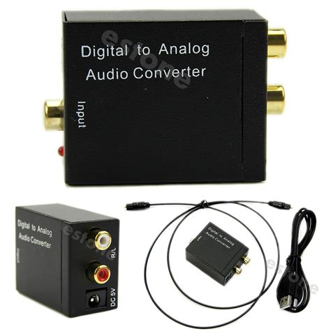 Paket Digital Optic To Analog Rca Audio Converter Plus Kabel Toslink digital optical coaxial toslink signal to analog audio converter adapter rca new ebay