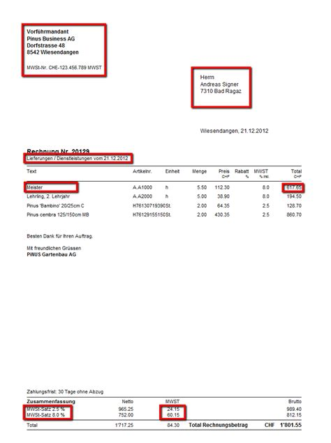 Rechnung An Schweiz Mit Mwst Welches Sind Die Formellen Anforderungen An Eine Mwst Konforme Rechnung Faktura Pinus