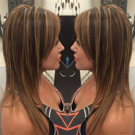 medium length hairstyles brown with a partial highlights medium brown with partial highlights hair pinterest
