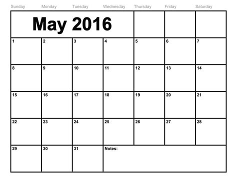 may 2016 calendar printable template 8 templates
