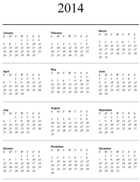 Printable Calendar Year On One Page | 2014 yearly calendar one page online calendar templates