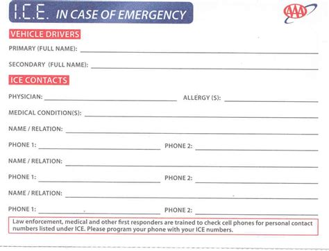 free in of emergency card template aaa chicago media site in of emergency cards
