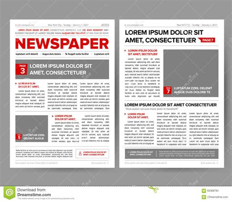 quotation page layout daily newspaper journal design template with two page