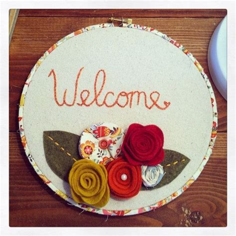 welcome embroidery hoop welcome sign welcome