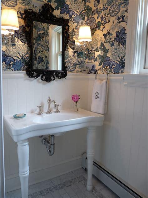 wallpaper blue bathroom parisian pedestal sink cottage bathroom kristin