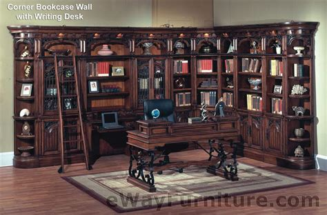 Corner Library Bookcase House Barcelona Library Corner Bookcase Wall With Writing Desk