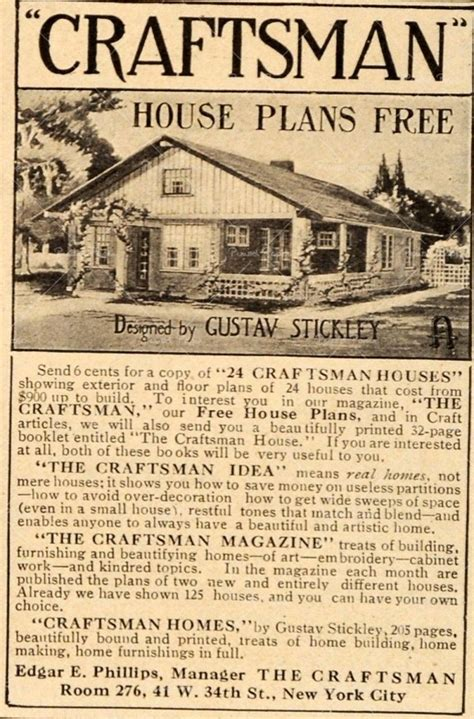 gustav stickley house plans 1911 vintage ad craftsman house plans gustav stickley tools dream home