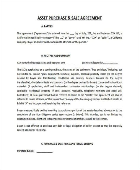 7 business purchase agreement form sles free sle