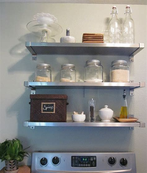 floating stainless steel kitchen shelves floating stainless steel shelves kitchen transitional