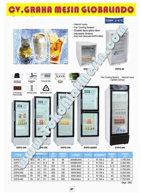 Lemari Es Minuman Dingin display cooler mesin display pendingin pemajang minuman