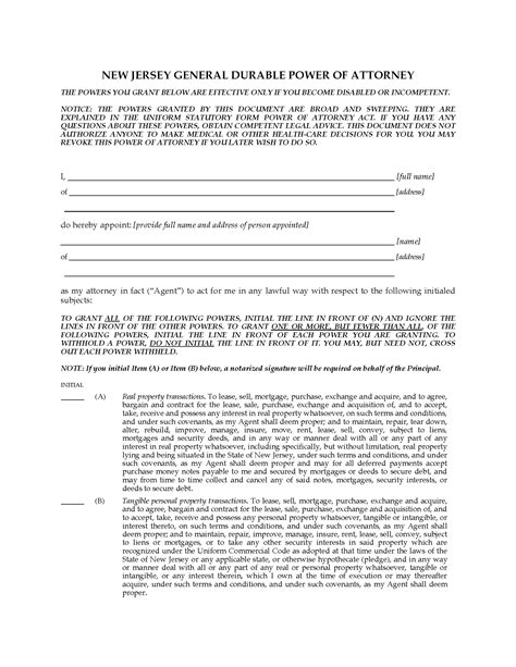 New Jersey General Durable Springing Power Of Attorney Legal Forms And Business Templates Power Of Attorney Template Nj