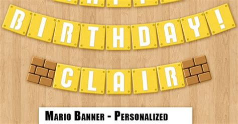 printable mario banner super mario bros birthday banner printable