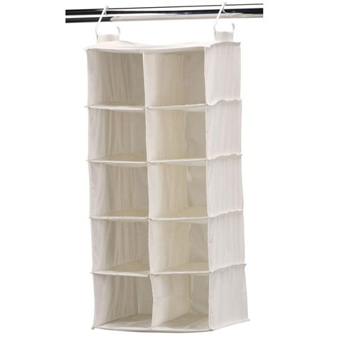 hanging shoe organizer household essentials 10 pocket side by side natural canvas
