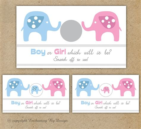 s day scratch and reveal card template baby elephant gender reveal scratch card 4 99 via