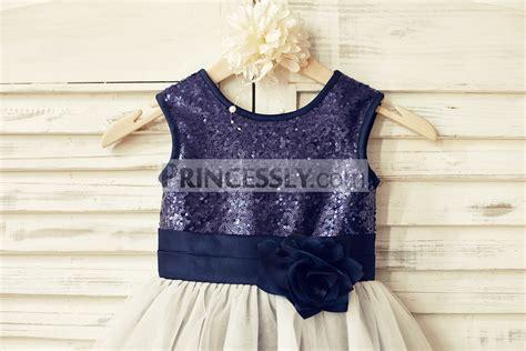 Dress Navy Flower With Belt navy blue sequin ivory tulle flower dress with navy blue belt flower avivaly