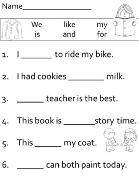 fill in the blanks worksheets fill in the blank sight word sentence worksheets by nvw