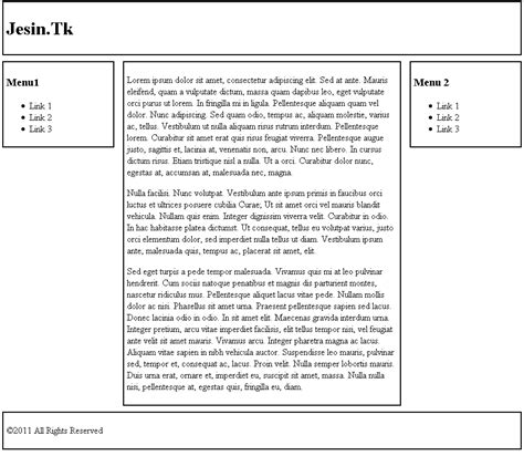 Tableless Layout Using Css   css tableless design tutorial jesin s blog