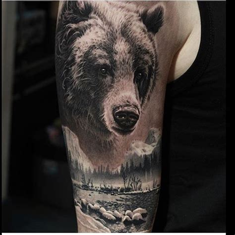 bear sleeve tattoo designs cool realistic idea on the arm tattoos