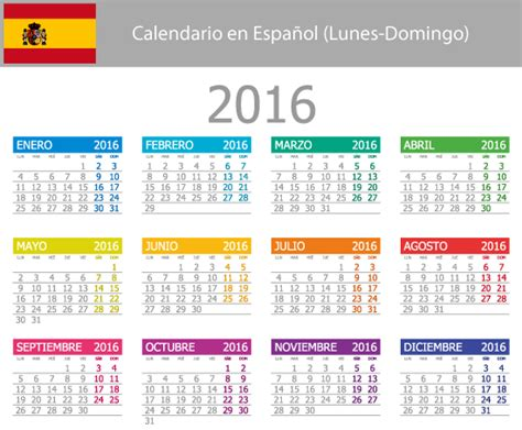 calendario tributario persona natural ao 2016 calendario elemental 2016 en espa 241 ol vector vector clipart