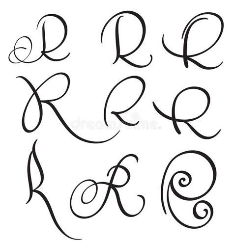 Grupo Da Letra R Da Caligrafia Da Arte Flourish De Whorls Decorativos Do Vintage Ilustra 231 227 O