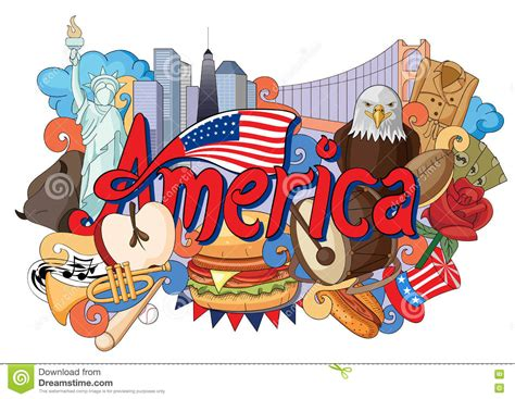 doodle 4 america doodle showing architecture and culture of america stock