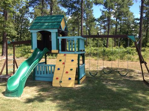 painted wooden swing sets new paint for a hand me down swing set paint pinterest