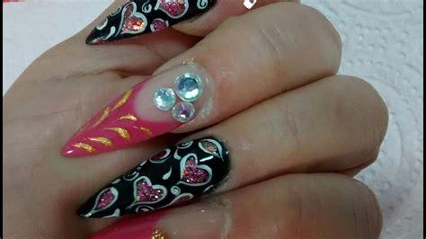 imagenes de uñas a acrilicas u 241 as acrilicas rosa y negro stiletto youtube