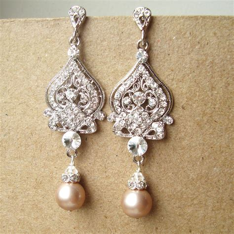 Bridal Chandelier Earrings With Pearls Champagne Wedding Earrings Art Deco Bridal Earrings Vintage