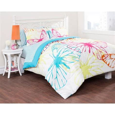 butterfly twin comforter set girls blue yellow pink white bright butterfly comforter
