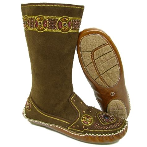 beaded moccasin boots new brown boho beaded gem moccasin calf boots size 3 8 buy