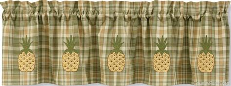 pineapple lined applique curtain valance