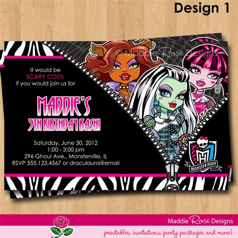 monster high printable party decorations 9 best images of monster high birthday invitations