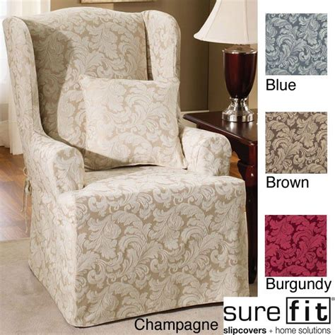 wingback chair slipcover pattern scroll wing chair slipcover